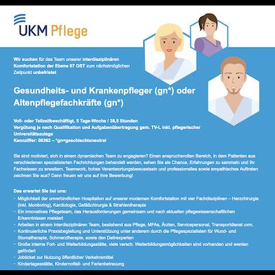 Gesundheits- und Krankenpfleger (gn) oder Altenpflegefachkräfte (gn) Komfortstation