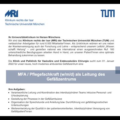 MFA / Pflegefachkraft (w/m/d) als Leitung des Gefäßzentrums