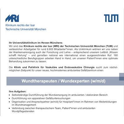 Gesundheits- und Krankenpfleger / Medizinischer Fachangestellter (m/w/d) als Wundtherapeut / Wundexpert (m/w/d)