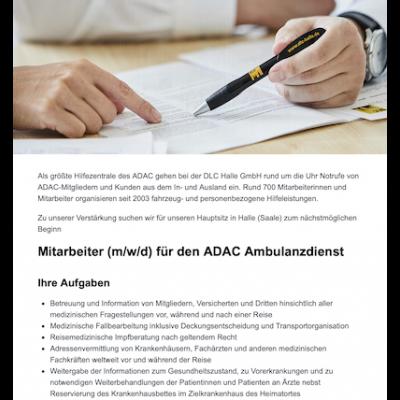 Mitarbeiter (m/w/d) für den ADAC Ambulanzdienst