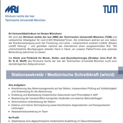 Stationssekretär / Medizinische Schreibkraft (w/m/d)