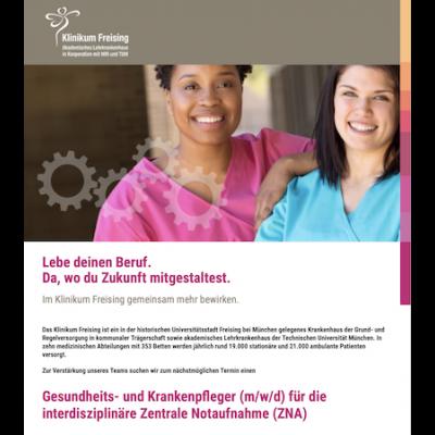 Gesundheits- und Krankenpfleger (m/w/d) für die interdisziplinäre Zentrale Notaufnahme (ZNA)