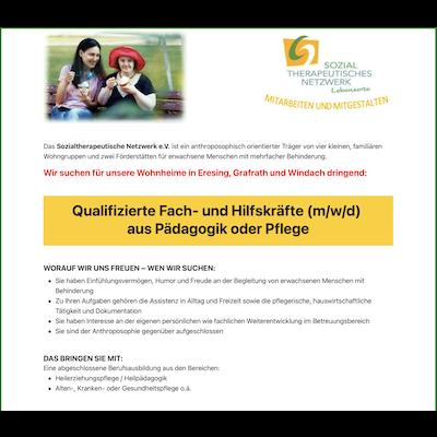 Qualifizierte Fach- und Hilfskräfte (m/w/d) aus Pädagogik oder Pflege