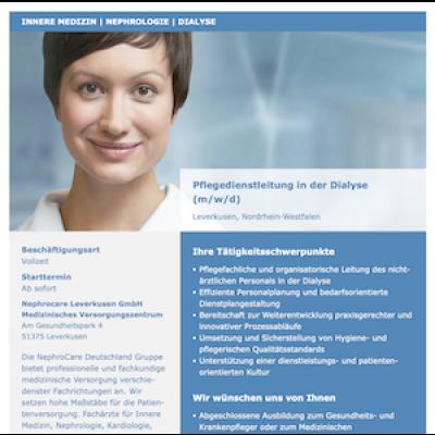 Pflegedienstleitung in der Dialyse (m/w/d)