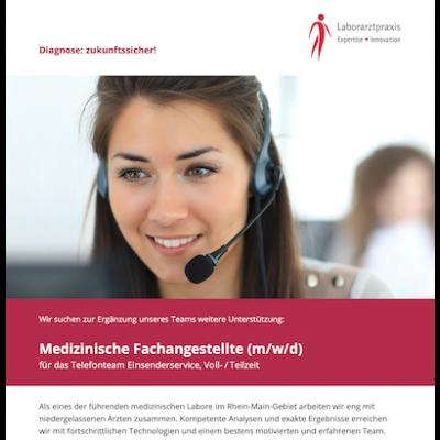 Medizinische Fachangestellte (m/w/d) Telefonteam Einsenderservice