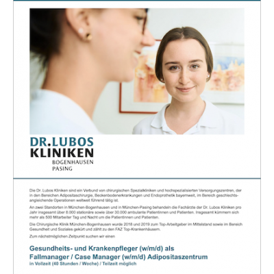 Gesundheits- und Krankenpfleger (w/m/d) als Fallmanager / Case Manager (w/m/d) Adipositaszentrum